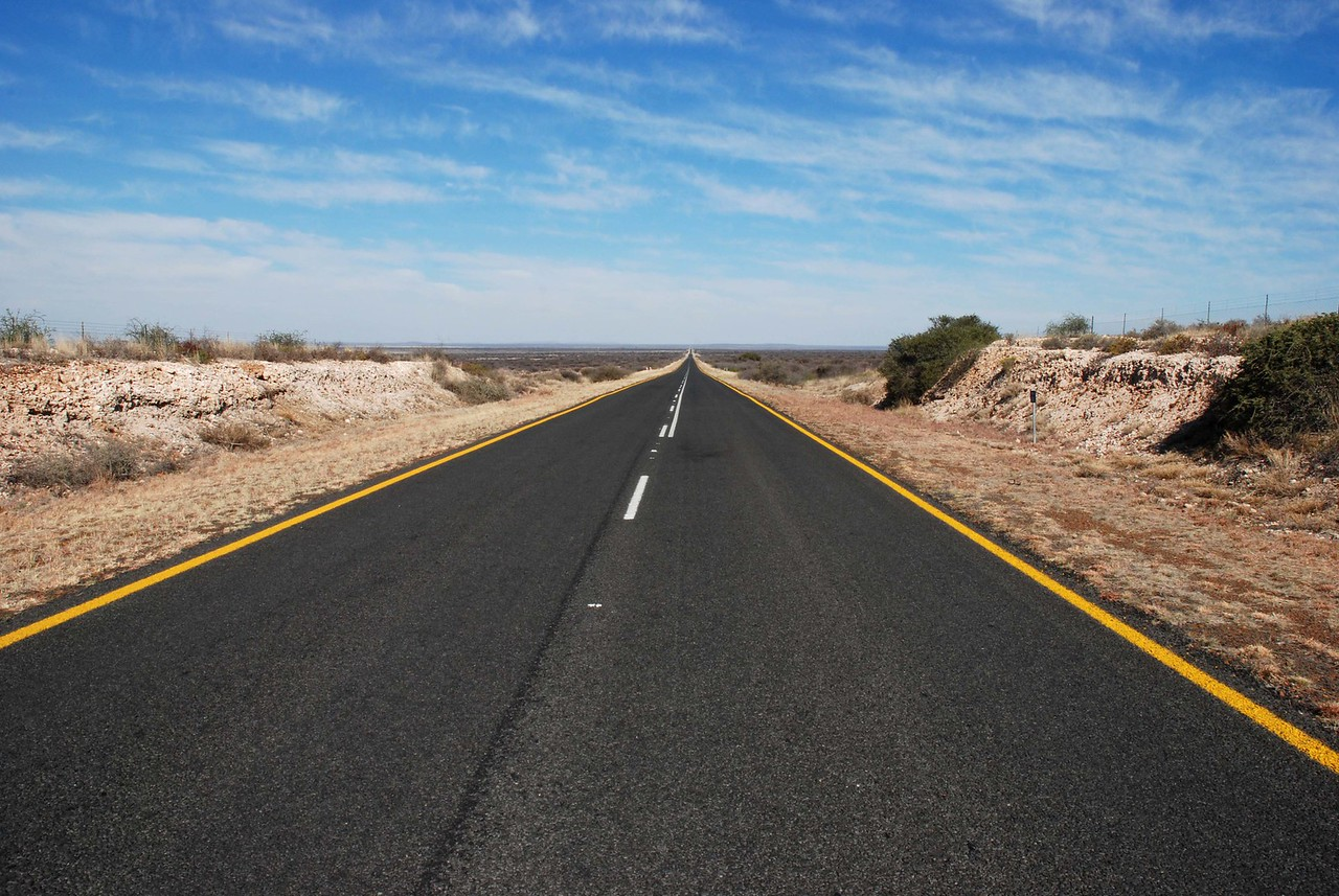 The highway across the Karoo -stretching out in front of us to the horizon<br /> <br /> The day's drive would reinforce just how vast the Karoo is. We traveled through the semi-desert for the entire day, admiring the flat-topped mountains, vast plains, fields of prickly pear cactus, termite mounds, dried up riverbeds, large flocks of sheep, windmills and vast blue skies. The further north we went, the redder and rockier the soil became. Despite the remoteness of the area, the highway was surprisingly good, although only two-lane, with no shoulders. Passing wasn't a problem, as there seemed to be very few vehicles. We stopped to take pictures of the highway, which was straight and stretched out in front of us to the shimmering horizon. Reminiscent of the Canadian prairies!