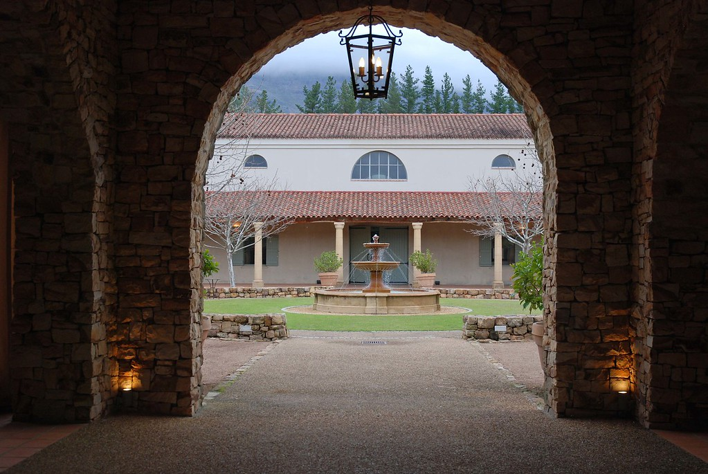 The Waterford fountain  Tastings take place in a magnificent courtyard, the centerpiece of which, a beautiful fountain, is featured on the winery's label. Compared to most, it is a very new winery, having been founded in 1998.