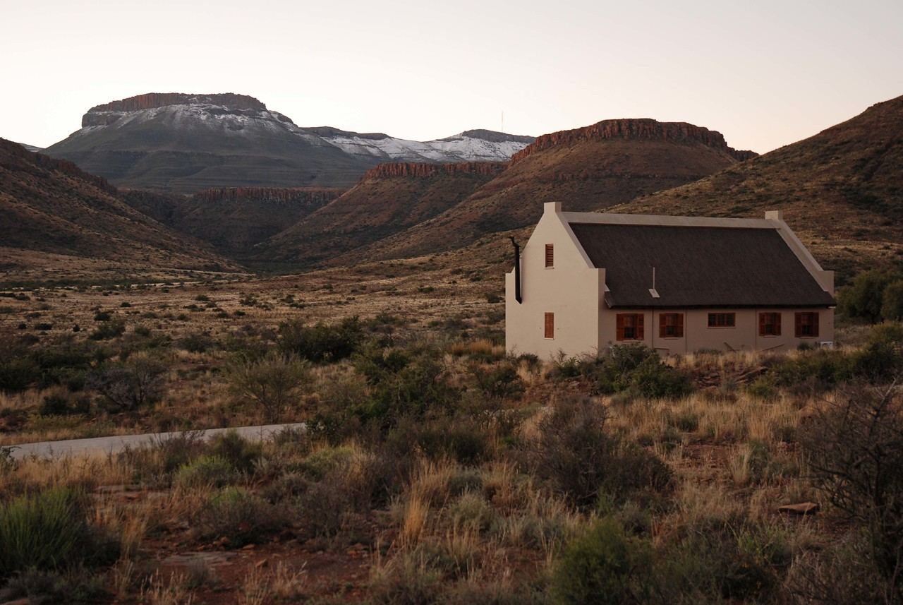 Our cabin in Karoo National Park - note the snow on the mountains. The area had received half a metre of snow a week before our arrival, the first snow in this semi-desert region in 30 years.