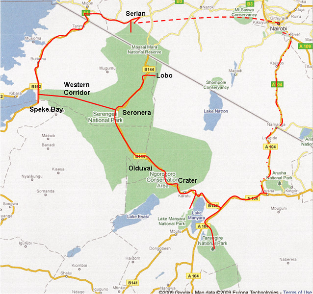 "Trip planning: <br /> <br /> After much reading and online research, we drew up an itinerary and then contacted Safari Drive ( <a href=""http://www.safaridrive.com"">http://www.safaridrive.com</a>), specialist African operators based in the UK, who had been recommended in the Bradt Guide to Botswana ( <a href=""http://www.bradtguides.com"">http://www.bradtguides.com</a>) and with whose assistance we had completed a self-drive through Botswana in 2008. Safari Drive once again shared their expertise and offered advice, provided us with a fully equipped Land Rover, looked after our campsite and lodge bookings, arranged all land transfers and generally made things a whole lot easier. We were once again very grateful that we had learned of Safari Drive through the Bradt guide. <br /> <br /> At the planning stage, we found the following very helpful:<br /> The Safari Drive website  <a href=""http://www.safaridrive.com"">http://www.safaridrive.com</a><br /> The Bradt Guide to Tanzania (ISBN: 978-84162-153-1) by Philip Briggs<br /> The Rough Guide to Kenya 2006 (ISBN: 978-1-84353-651-2) by Richard Trillo<br /> Lonely Planet's Tanzania 2008 (ABN: 36-005-607-983) by Mary Fitzpatrick<br /> Fodor's Africa and the Middle East Forum  <a href=""http://www.fodors.com"">http://www.fodors.com</a><br /> The Tourist Travel and Field Guide of the Serengeti National Park by Veronica Roodt (ISBN: 0-620-34190-4)<br /> The Tourist Travel and Field Guide of the Ngorongoro Conservation Area by Veronica Roodt (ISBN: 0-620-34191-2<br /> <br /> We found our way with a Garmin 60CX GPS, on which we loaded the Tracks4Africa Kenya, Tanzania and Uganda map, which we purchased from the Tracks4Africa website ( <a href=""http://www.tracks4africa.co.za"">http://www.tracks4africa.co.za</a>) for R175.00 (~CDN$25). It saved us from becoming hopelessly lost on several occasions.<br /> <br /> We also found the following paper/hard copy maps very helpful - we purchased all maps in advance online from  <a href=""http://www.omnimap.com"">http://www.omnimap.com</a>.<br /> The Tourist Map of the Serengeti National Park by Veronica Roodt 2005 edition  <a href=""http://www.veronicaroodt.co.za"">http://www.veronicaroodt.co.za</a><br /> Tourist Map of the Ngorongoro Conservation Area by Veronica Roodt 2006 edition <br /> The New Map of Serengeti National Park Wet/Dry Season 2007 by Giovanni Tombazzi  <a href=""http://www.gtmaps.com"">http://www.gtmaps.com</a><br /> The New Map of Northern Tanzania 2007 by Giovanni Tombazzi<br /> Lake Manyara National Park Wet Season/Dry Season by Giovanni Tombazzi with Hoopoe Adventure Tours, Tanzania<br /> New Map of Tarangire National Park (Wet/Dry Season) 2008 by Giovanni Tombazzi<br /> New Map of the Ngorongoro Conservation Area 2003 by Giovanni Tombazzi<br /> Masai Mara Visitor Map Guide by Jacana Maps  <a href=""http://www.jacana.co.za"">http://www.jacana.co.za</a><br /> <br /> <br /> Itinerary:<br /> <br /> 30 July House of Waine, Nairobi, Kenya  <a href=""http://www.houseofwaine.com"">http://www.houseofwaine.com</a><br /> 31 July – 1 August Serian Camp, Masai Mara North Conservancy, Kenya  <a href=""http://www.serian.net"">http://www.serian.net</a><br /> 2 August – 7 August Maji Ya Ndege Special Campsite, Mara Triangle, Kenya,  <a href=""http://www.maratriangle.org"">http://www.maratriangle.org</a><br /> 8 August Serian Camp, Masai Mara North Conservancy, Kenya  <a href=""http://www.serian.net"">http://www.serian.net</a><br /> 9 August Speke Bay Lodge, Tanzania  <a href=""http://www.spekebay.com"">http://www.spekebay.com</a> or  <a href=""http://www.moivaro.com"">http://www.moivaro.com</a><br /> 10–11 August Mareo Special Campsite, Western Corridor, Serengeti National Park, Tanzania,  <a href=""http://www.tanzaniaparks.com"">http://www.tanzaniaparks.com</a><br /> 12 August Turner 1 Special Campsite, Seronera, Serengeti National Park, Tanzania<br /> 13-15 August Lobo 1 Special Campsite, Lobo, Serengeti National Park, Tanzania<br /> 16 August Turner 1 Special Campsite, Seronera, Serengeti National Park, Tanzania<br /> 17 August Olduvai Tented Camp, Ngorongoro Conservation Area, Tanzania  <a href=""http://www.africatravelresource.com"">http://www.africatravelresource.com</a> <br /> 18-19 August Lemala Camp, Ngorongoro Crater,  <a href=""http://www.lemalacamp.com"">http://www.lemalacamp.com</a><br /> 20 August Arusha Coffee Lodge, Arusha, Tanzania  <a href=""http://www.elewana.com"">http://www.elewana.com</a><br /> 21-23 August Bagayo 1 Special Campsite, Lake Manyara National Park, Tanzania,  <a href=""http://www.tanzaniaparks.com"">http://www.tanzaniaparks.com</a><br /> 24-26 August Mbweha Special Campsite, Tarangire National Park, Tanzania,  <a href=""http://www.tanzaniaparks.com"">http://www.tanzaniaparks.com</a><br /> 27 August Rivertrees Country Inn, Arusha, Tanzania  <a href=""http://www.rivertrees.com"">http://www.rivertrees.com</a>"