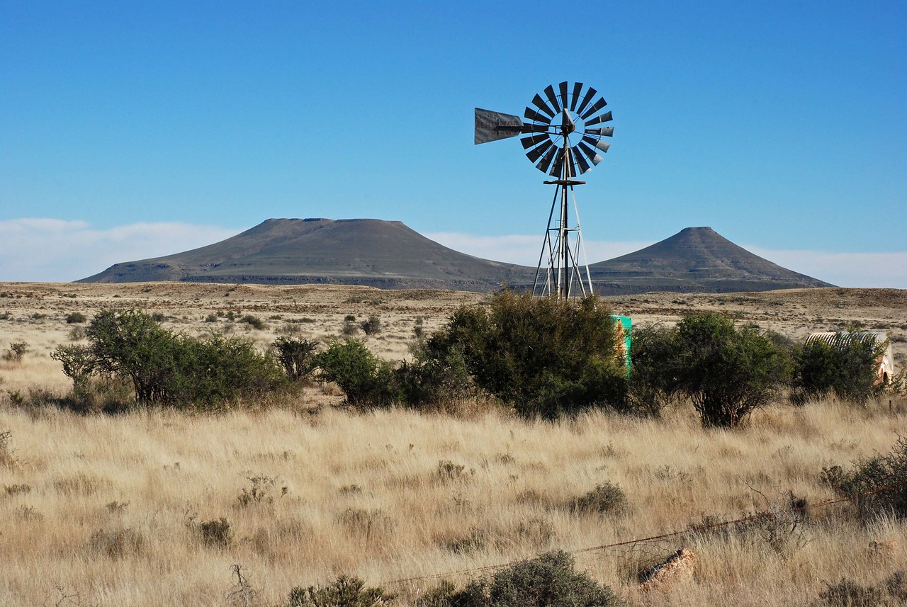 The Karoo, a semi-desert<br /> <br /> We crossed over several dry riverbeds and saw our first windmill drawing water to the surface for the animals. We spied our first springbok in a field.