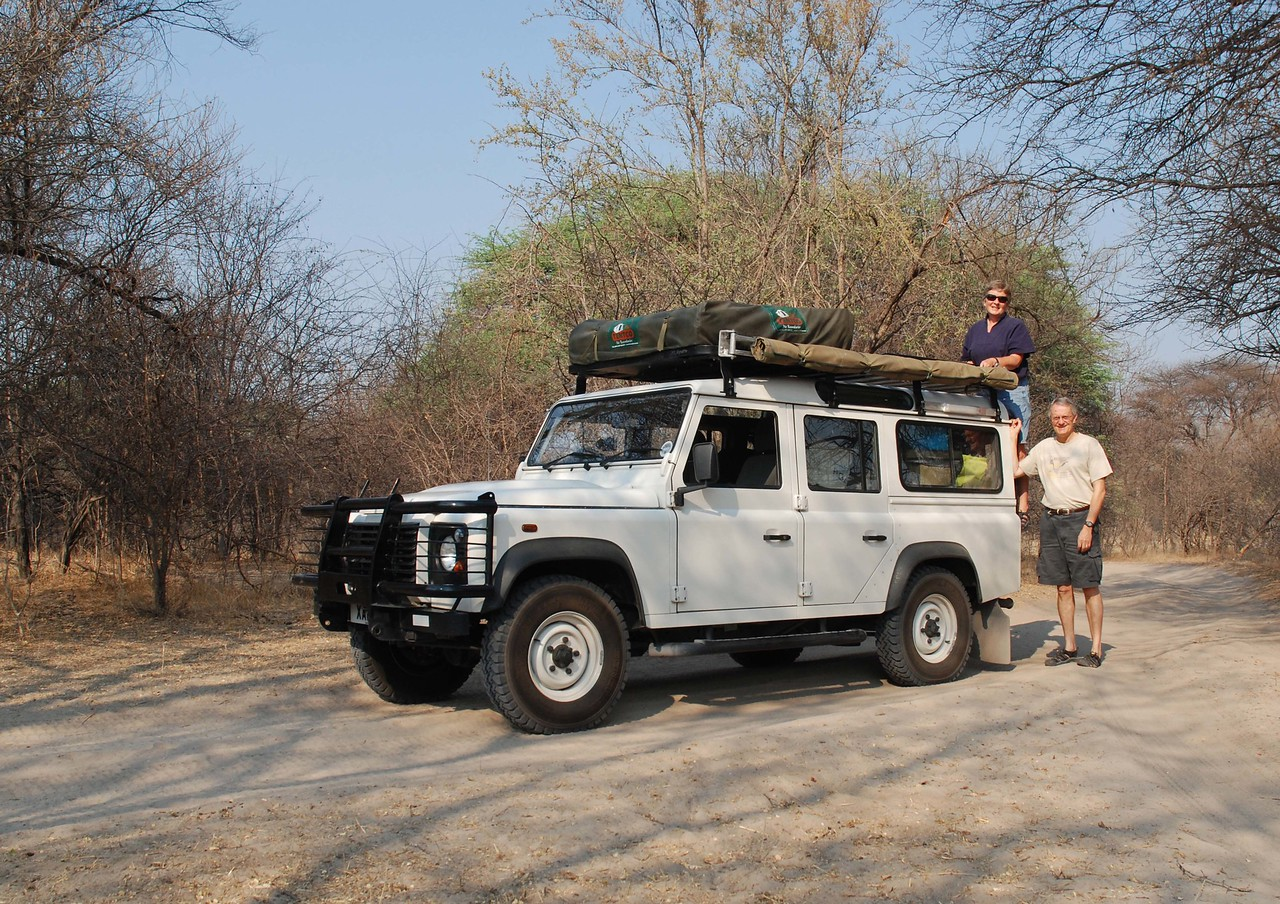 """The journey begins - Robin & Robert with """"Ranulph""""<br /> <br /> <br /> Namibia, Botswana and Zambia <br /> 28th September to 11th November 2011<br /> <br /> <br /> This report follows the journey of two Canadians, Robin and Robert, as we self-drive through the Moremi Game Reserve and Chobe National Park in Botswana, and then Lower Zambezi, South Luangwa and Kasanka National Parks in Zambia. <br /> <br /> The report begins with a list of resources that we found helpful at the planning stage. <br /> This is followed by our itinerary accompanied by a map on which our route is highlighted. <br /> Then, there is a brief description of our overall thoughts about the trip.<br /> <br /> The itinerary is followed by a list of highlights (there were many!), which are accompanied by some of our favourite photos. Note that the photos may be enlarged by clicking on them.<br /> <br /> Following the highlights is a list of lowlights - there weren't many!<br /> <br /> After the lowlights, there is a day to day journal with more photos. The journal is not quite finished. This is a work in progress!<br /> <br /> We are most grateful to Becx, Ollie, Sue, Duane, Clare, Carly, Meregan and Charles of Safari Drive for another trip of a lifetime. Thank you all!"""